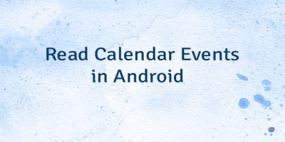 Read Calendar Events in Android
