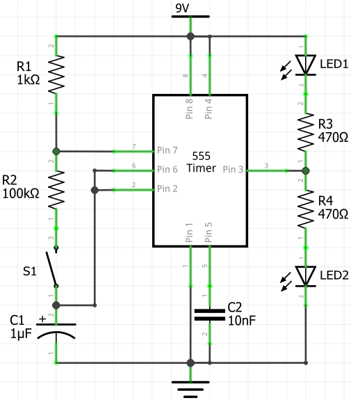 Electronic Coin Toss Using 555 Timer (Circuit Diagram)