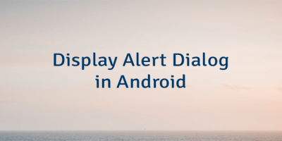 Display Alert Dialog in Android