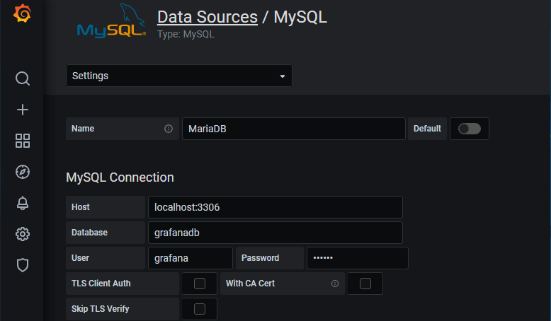 MariaDB connection details for Grafana