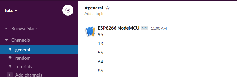 Messages Posted by ESP8266 NodeMCU to Slack Channel