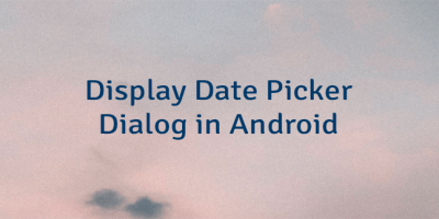 Display Date Picker Dialog in Android