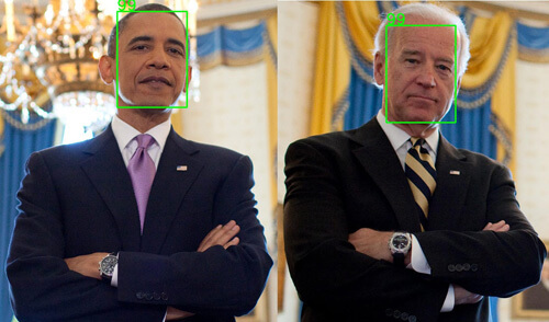 Detected faces in image using libfacedetection on Raspberry Pi